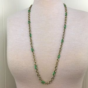 J.Crew Gold Tone Green Enamel Chain Link Necklace